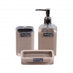 Çift Baskı Kare 3'lü Banyo - Saydam - Kahverengi