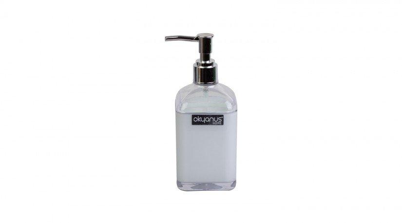 Çift Baskılı Saydam Kare Sıvı Sabunluk - beyaz