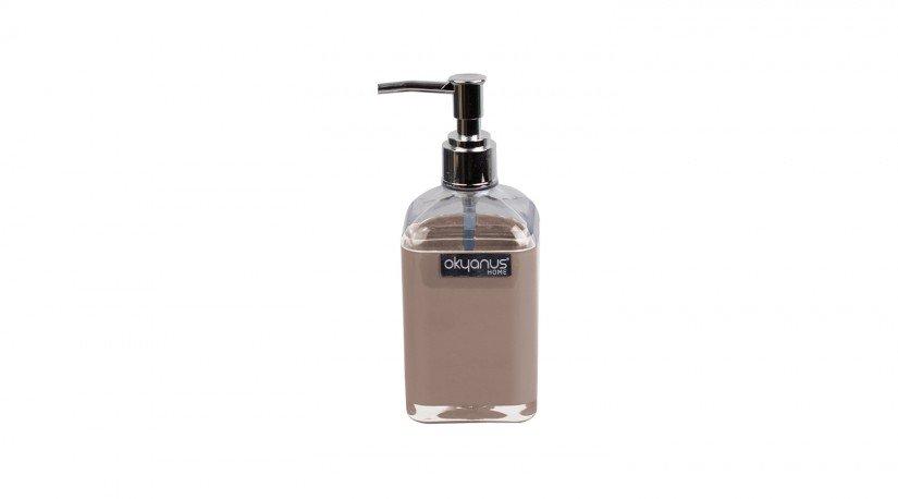 Çift Baskılı Saydam Kare Sıvı Sabunluk - kahverengi