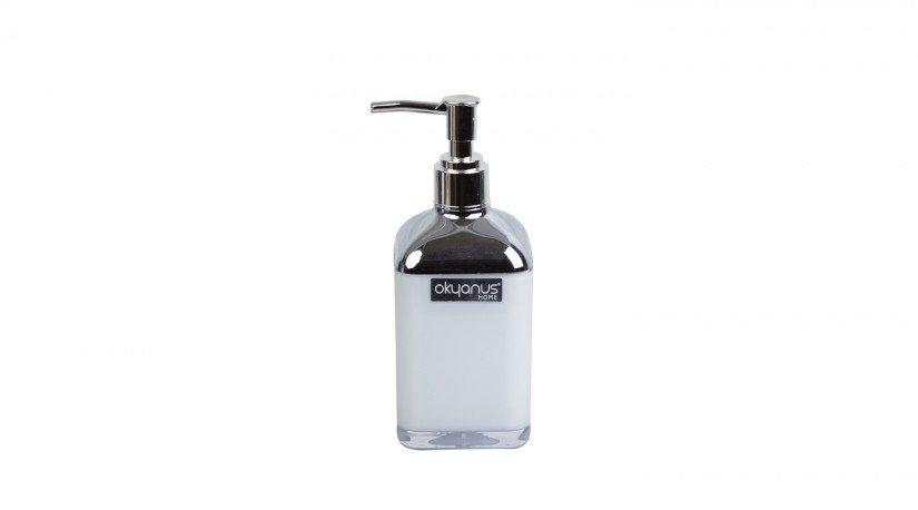 Çift Baskılı Kare Sıvı Sabunluk - Beyaz  Krom