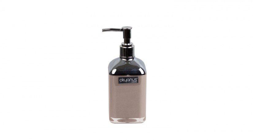 Çift Baskılı Kare Sıvı Sabunluk - kahverengi  Krom
