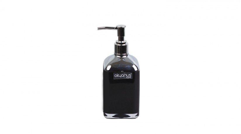Çift Baskılı Kare Sıvı Sabunluk - Siyah Krom