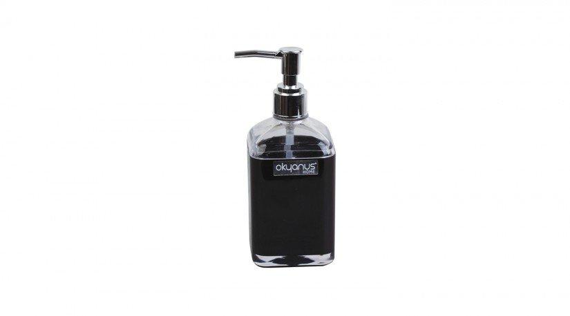 Çift Baskılı Saydam Kare Sıvı Sabunluk - Siyah