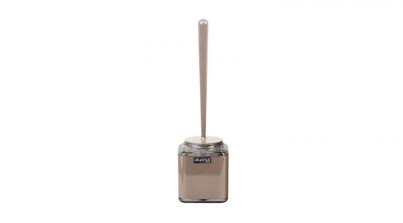Çift Baskılı Kare Tuvalet Fırçası - Kahverengi