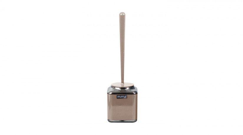Çift Baskılı Kare Tuvalet Fırçası Krom - Kahverengi