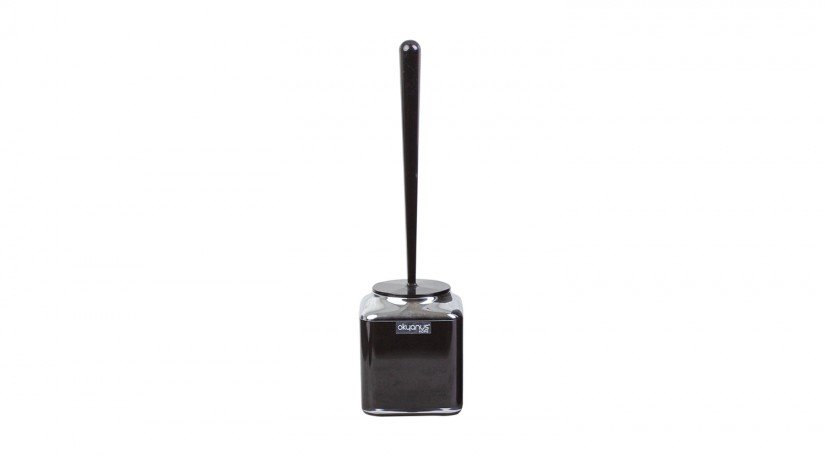 Çift Baskılı Kare Tuvalet Fırçası Krom - Siyah