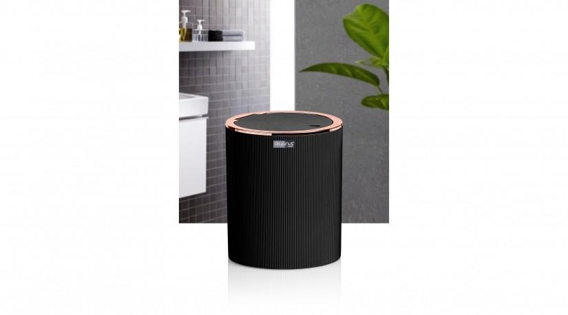 Çizgili Yuvarlak Çöp Kovası Siyah - Krom